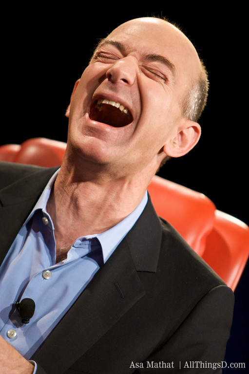 Jeff Bezos laughing (photo courtesy of AllThingsD)