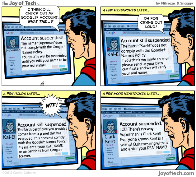 Superman Vs Google+ 1584