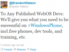 Microsoft's Brandon Watson to WebOS - develop for us instead