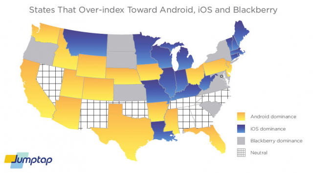 JumpTap Map Shows Android Apple Blackberry Usage By State Ina - Divided us map