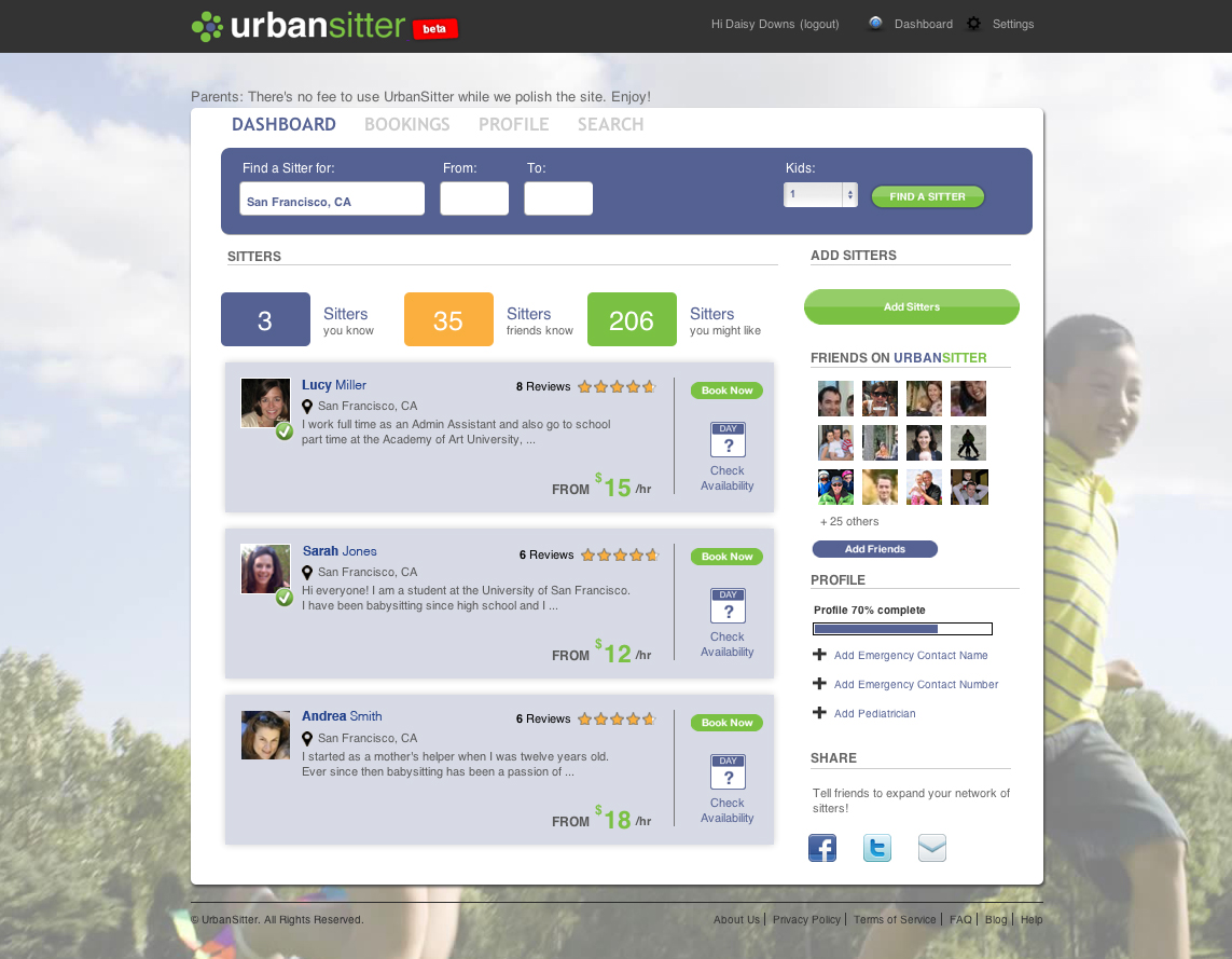 urbansitter helps parents book babysitters through social tagged