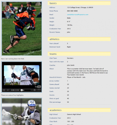 Sports profile templates pictures to pin on pinterest for Sports profile template