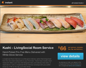 Exclusive livingsocial launches room service food for Livingsocial x room