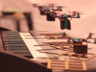 Flying robots play keyboard