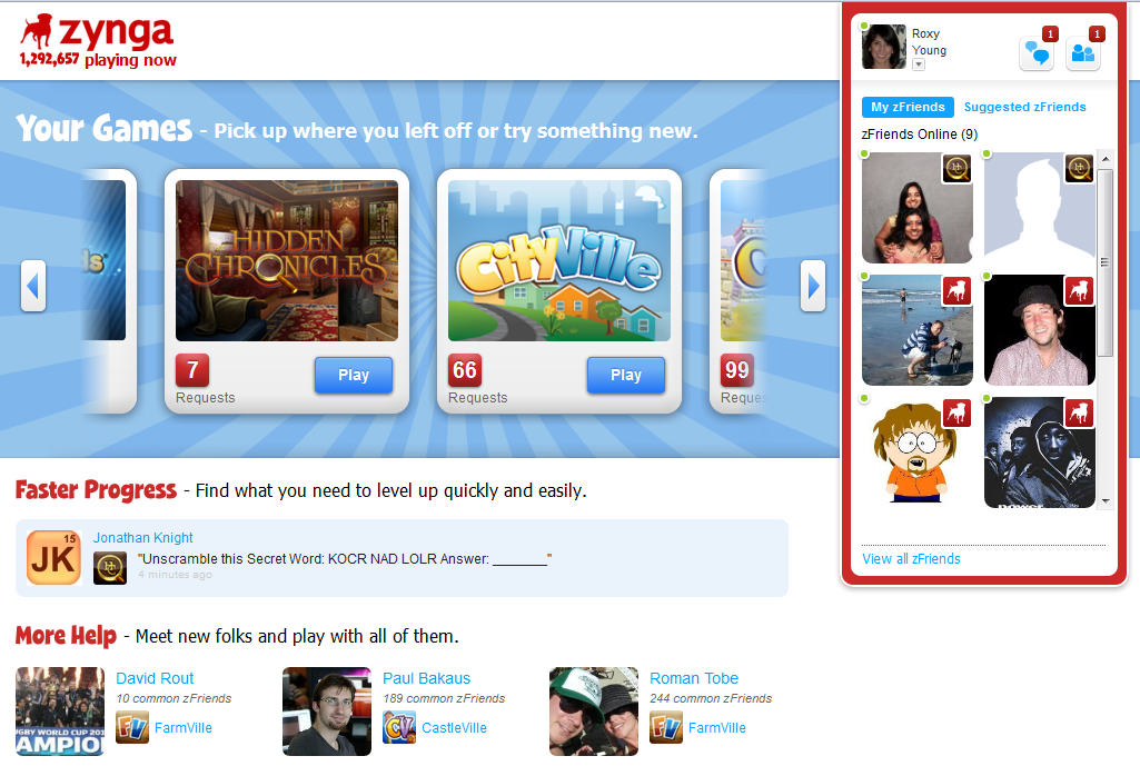 Social games on its own web site through facebook of course
