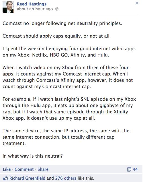 Netflix CEO Complains About Comcast on Facebook, Again
