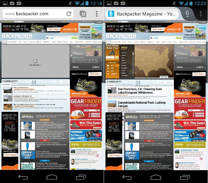 Firefox (right) offers Flash support, while Chrome (left) does not.