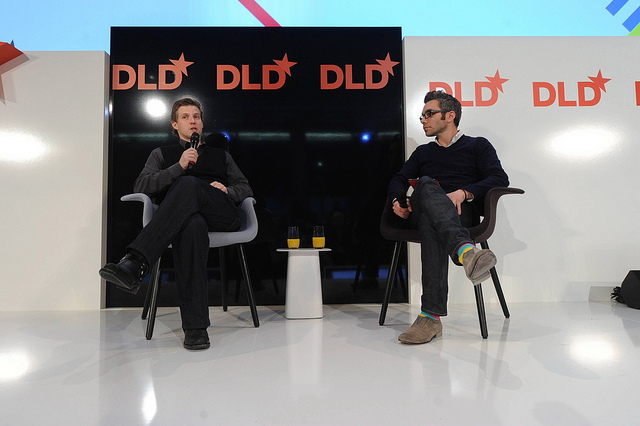 Alec Ross (left) in conversation with Nick Bilton at DLD Germany.