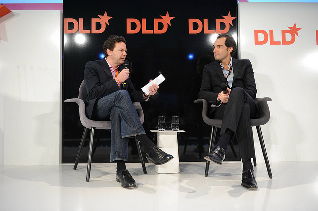 Yahoo COO Henrique De Castro, right, in conversation at the DLD Munich conference.