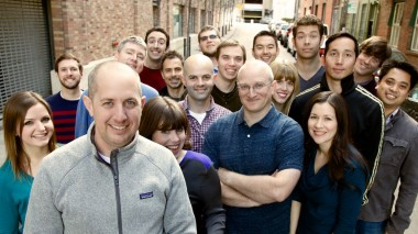 Team ToyTalk, with CEO Oren Jacobs on the left, outside their office in San Francisco.