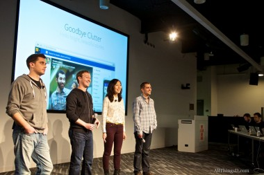 Top News Feed managers and execs; From left, Adam Mosseri, Mark Zuckerberg, Julie Zhou and Chris Cox.