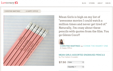 "Christine Martinez's recommendation of pencils with quotes from the movie ""Mean Girls"" has been one of the more popular Luvocracy items to date."
