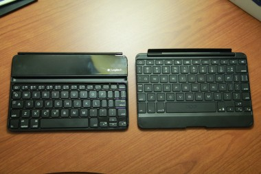 On the left, the Logitech Ultrathin Keyboard Cover for iPad mini. On the right, the Zaggkeys Keyboard Cover.