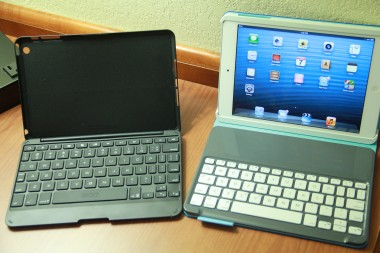 On the left, the Zaggkeys Keyboard Folio for iPad mini. On the right, the Logitech Keyboard Folio.