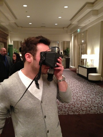 Oculus VR CEO Brendan Iribe testing out the Rift at D: Dive Into Media.