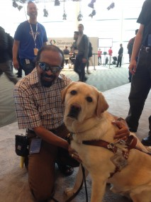 T.V. Raman with his current guide dog, Tilden, at Google's I/O developer conference