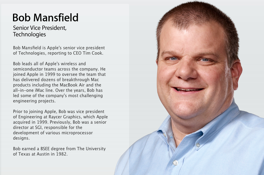 "Apple Says SVP Bob Mansfield ""No Longer"" on Executive Team, but Gives No Explanation as to Why"