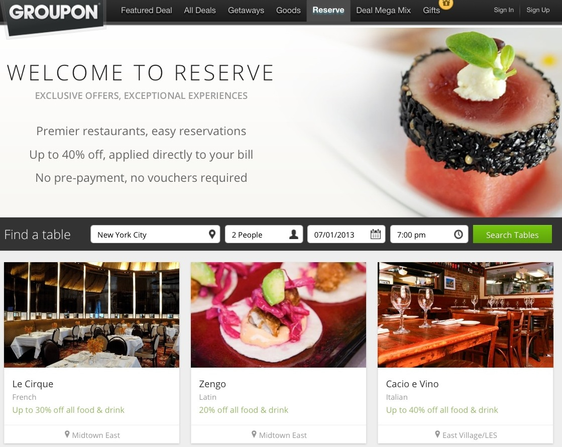 Groupon Relaunches Reserve Product So Restaurants Can Fill