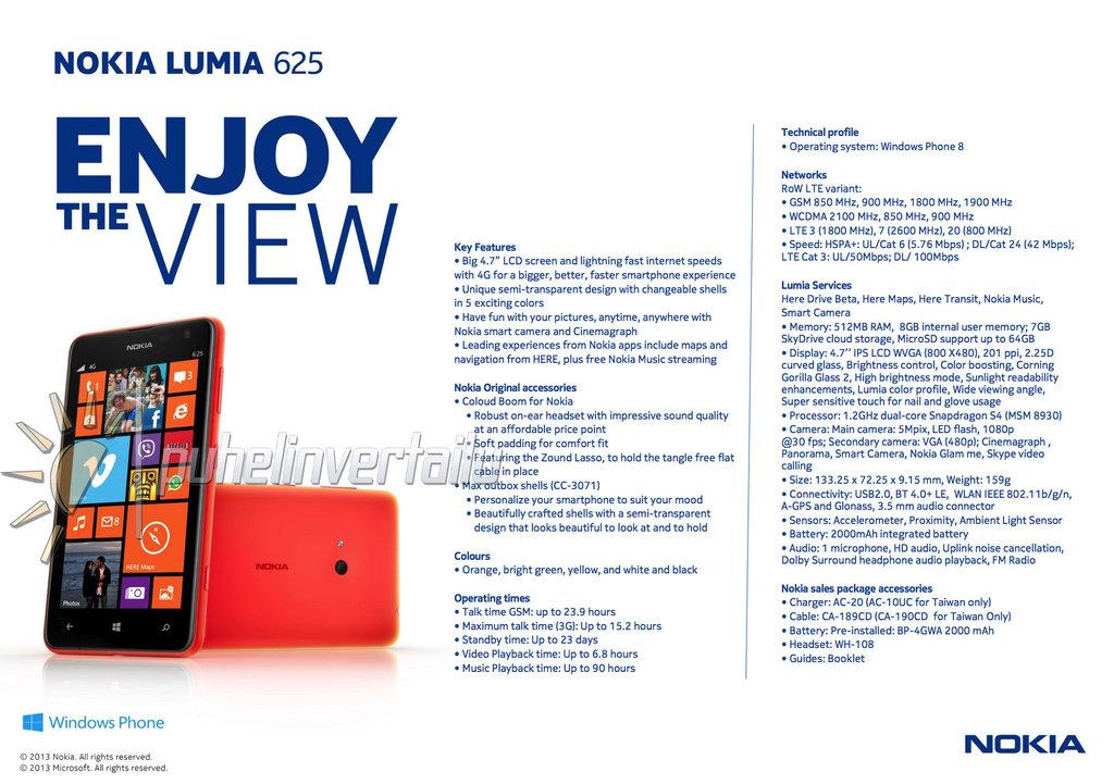 Details Leak on Nokia's Big-Screen Lumia 625 Ahead of Launch