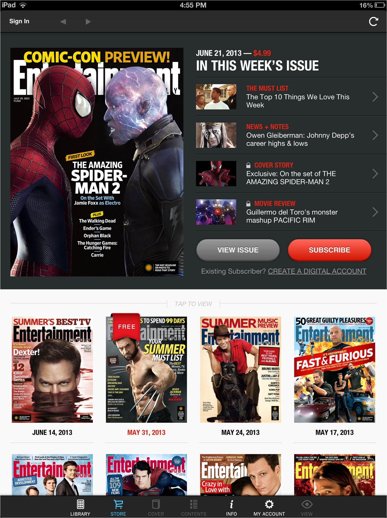 Time Inc. EW iPad iTunes new