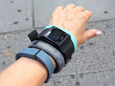 Fitbit Flex, Nike Plus FuelBand, Basis Band and Jawbone Up in action
