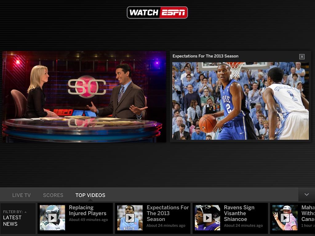 ESPN WatchESPN iPad App Update Features Live Toolbar - Peter