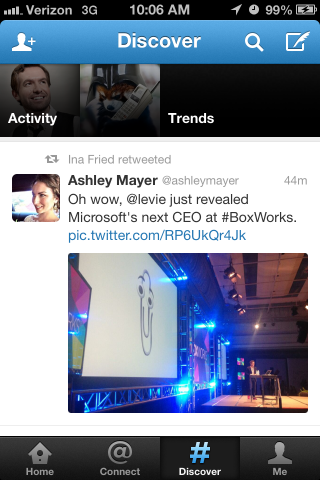 An example of Twitter's current Discover section