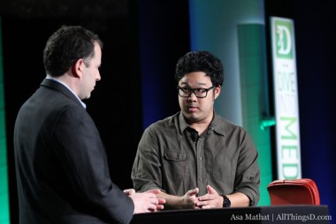 Mortal Kombat: Legacy director Kevin Tancharoen, right, with Peter Kafka at D: Dive Into Media 2012.