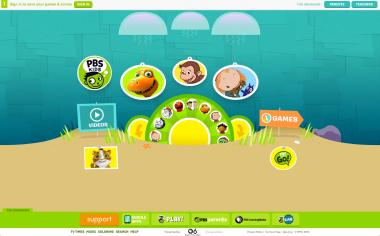 The heavily Flash-based PBS Kids site, prior to this recent redesign.
