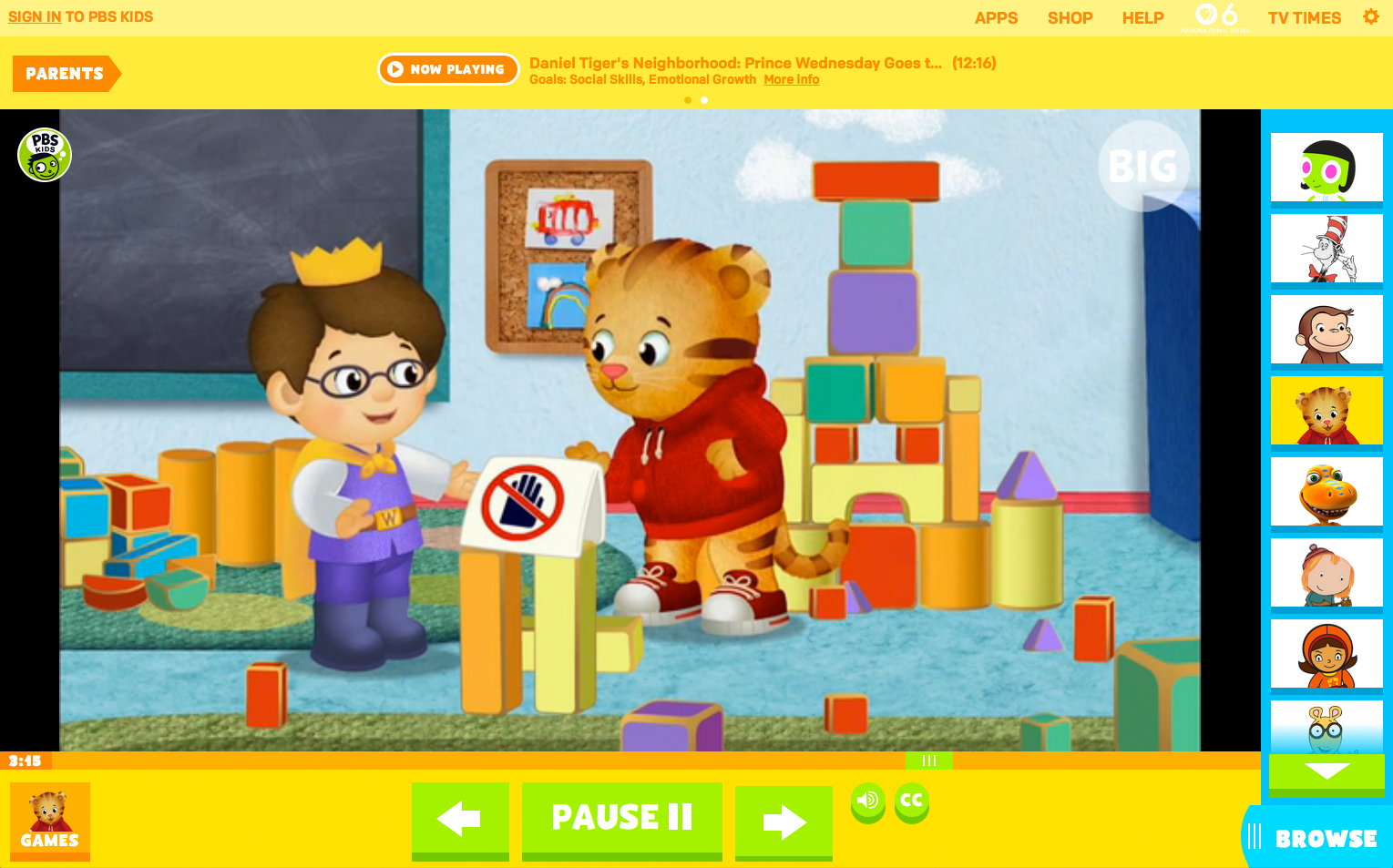 The Video Player On Redesigned PBS Kids Web Site