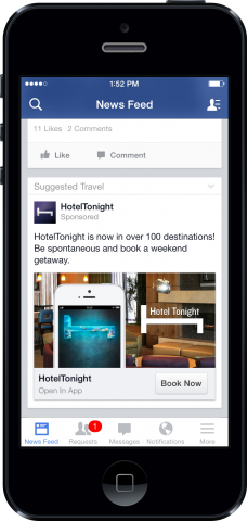 Screenshot - HotelTonight mobile app ad for engagement and conversion
