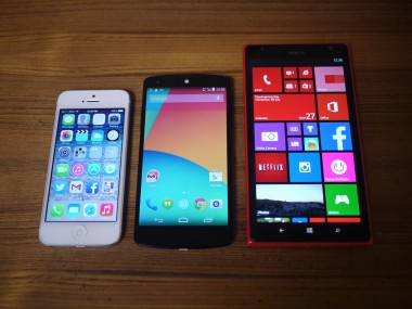 Left to right: iPhone 5, Nexus 5, Nokia Lumia 1520