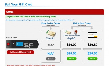 CardCash will buy your gift cards from you outright -- at 60 percent to 85 percent of the card's value.