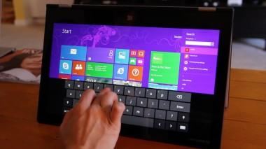 "The Lenovo Yoga 2 in ""stand"" mode."
