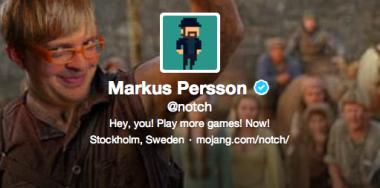 Persson's nom de Twitter, Notch.